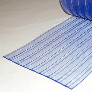 PVC Stroken Gordijn per meter Dubbel Geribbeld 400 x 4 mm