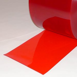 PVC Stroken per meter Rood Transparant 300 x 3 mm