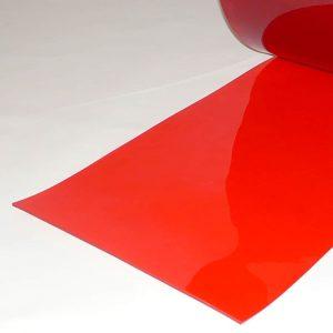 PVC Stroken per meter Rood Transparant 400 x 4 mm