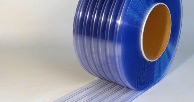 PVC Stroken Gordijn op rol Dubbel Geribbeld 50 m x 300 x 3 mm