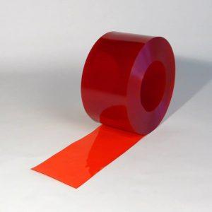 PVC Strook op rol Rood Transparant 50 m x 200 mm x 2 mm