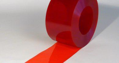 PVC Stroken Gordijn op rol Rood Transparant 50 m x 200 mm x 2 mm