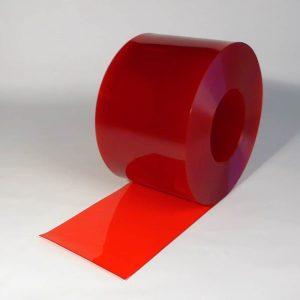 PVC Strook op rol Rood Transparant 50 m x 300 x 3 mm