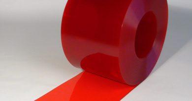 PVC Stroken Gordijn op rol Rood Transparant 50 m x 300 x 3 mm