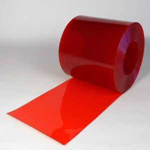 PVC Strook op rol Rood Transparant 50 m x 400 x 4 mm