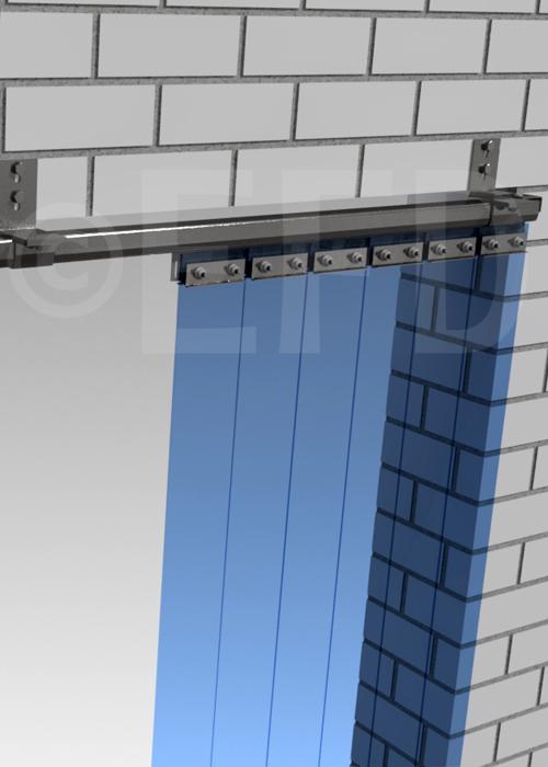 PVC strokengordijn verschuifbaar rails ophangsysteem wand