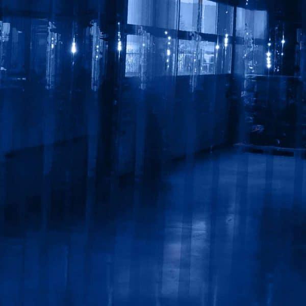pvc stroken gordijn blauw transparant