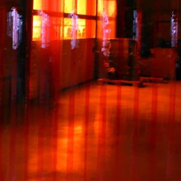 pvc stroken gordijn rood transparant